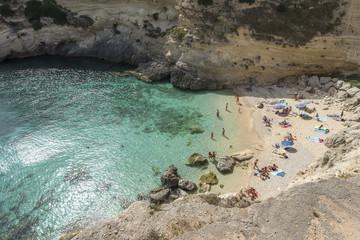 Santa Cesarea Terme, Porto Miggiano, province of Lecce, Salento, Apulia, Italy. The beautiful bay of Porto Miggiano