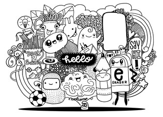 Hipster Hand drawn Crazy doodle Monster group drawing style.Vector illustration