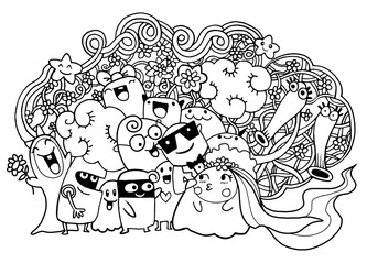 Cute doodle Monster group drawing style.Vector illustration