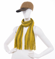 Striped scarf with hat on female mannequin