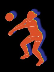 silhouette of a volleyball player woman, vector draw
