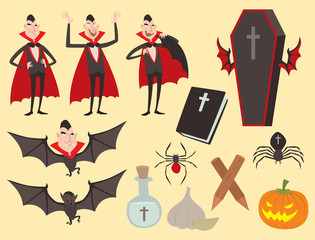 Cartoon dracula vector coffin symbols vampire icons character funny man comic halloween and magic spell witchcraft ghost night devil tale illustration.