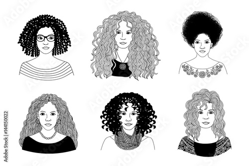 Hand Drawn Black And White Illustration Of Six Young Women With