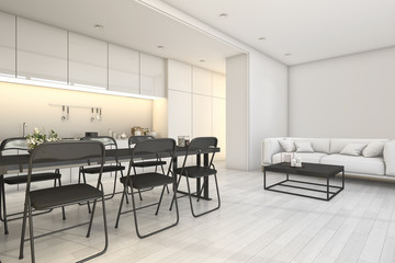 3d rendering white modern kitchen and living area with dining zone