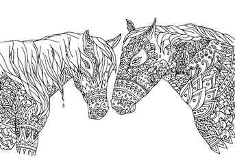 Coloring page in zentangle inspired style. Vector illustration hand-drawn horses (mustang), isolated on white background. Hand drawn sketch for adult antistress coloring page, T-shirt, logo or tattoo