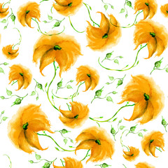 Watercolor seamless vintage pattern of drawings of Yellow   flower, sunflower, chamomile, roses, leaves, floral pattern. Fashionable design.On a white background