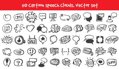 vector doodle speech clouds icons set