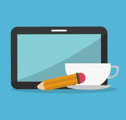 tablet with coffee and pencil  icons image vector illustration design