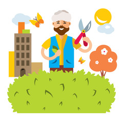 Vector Gardener in the city. Flat style colorful Cartoon illustration.