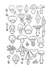 Smiling mushrooms, sketch for your design