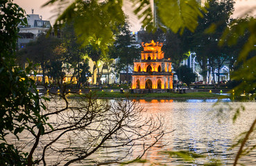 Turtle tower in the center of Hoan kiem lake sunset