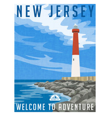 New Jersey travel poster or sticker. Vector illustration of historic lighthouse on the Atlantic coast.