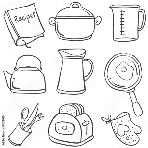 Doodle of kitchen set hand draw stock image and royalty for Kitchen set drawing