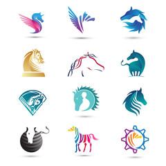 Set Of Vector Horses Logo
