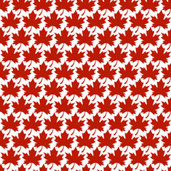 Red Stylized Autumn Maple Leaf Seamless Pattern