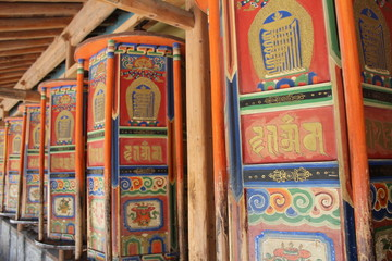 Labrang Monastery Tibet Tibetan Amdo Prayer Wheel Wheels Colorful Painted Paint Beautiful Scripture Scriptures Temple Shrine Spin Spinning Religion Religious Asia Asian Plateau China Qinghai Gansu Xia
