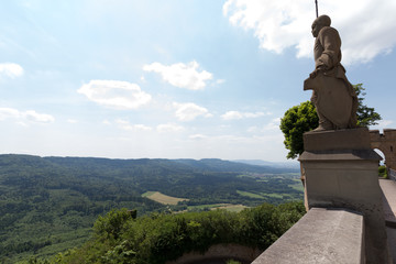 The statue on the wall of Hohenzollern castle