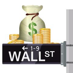 wall street new york vector illustration eps 10