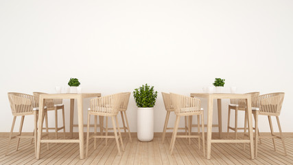 restaurant or coffee shop on wood design - 3D Rendering