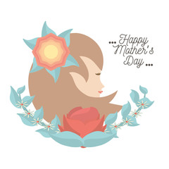 happy mothers day card woman figure flower decorative vector illustration eps 10