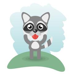 Aluminium Prints Cats cute raccoon animal wildlife vector illustration eps 10