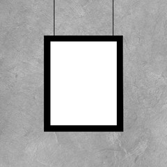 Black picture frame template on grunge wall, Realistic rendering of photo frame, 3D illustration