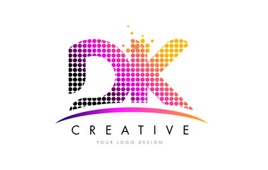 DK D K Letter Logo Design with Magenta Dots and Swoosh