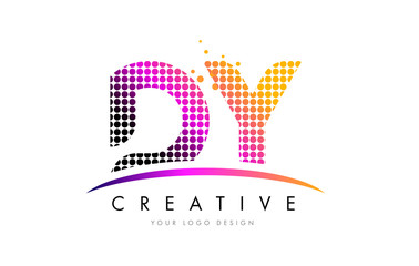 DY D Y Letter Logo Design with Magenta Dots and Swoosh