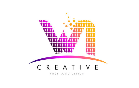 WI W I Letter Logo Design with Magenta Dots and Swoosh