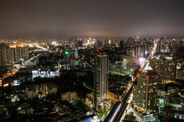 BANGKOK, THAILAND - OCTOBER 26 : high view of Bangkok city at night October 26, 2015 at Bangkok, Thailand.