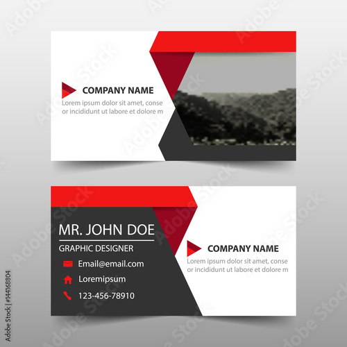 Red Corporate Business Card Name Card Template Horizontal Simple - Name banner template