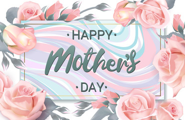 Happy Mothers Day lettering on marble plate surrounded by roses. Happy Mothers Day greeting card with pink delicate roses. Rose flower horizontal banner. Vector illustration