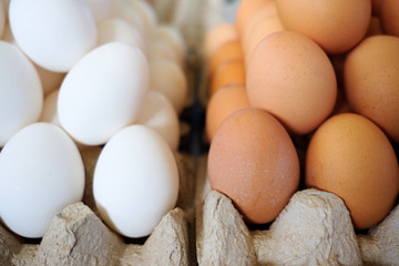 white and brown eggs in market