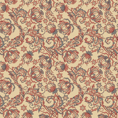 vintage pattern in indian batik style. floral background