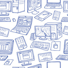 Computer vector seamless pattern. hand drawn office doodles of electronic gadgets.