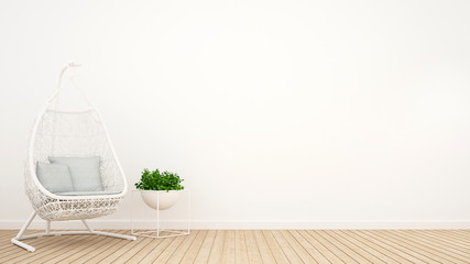 white rattan cradle and plant in relax room - 3D Rendering