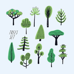 Set of cartoon doodle trees. Beautiful hand drawn childish, primitive style illustration collection.