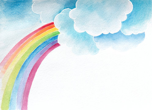 watercolor background with clouds and rainbow