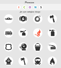 fire brigade icon set