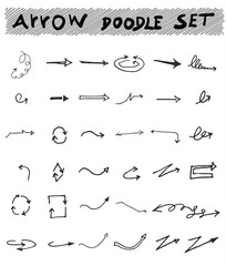 Vector hand drawn arrows set isolated on white sketch
