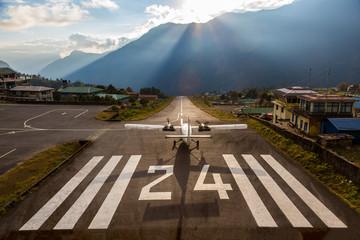 Airplane before taking off at Runway of small Airport Himalaya