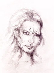 Acrylic Prints Watercolor Face Mystic woman with ornament on face. pencil drawing on old paper.