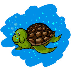 Isolated illustration of a cartoon sea turtle