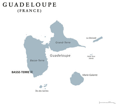 Guadeloupe political map with capital Basse-Terre. Caribbean islands and overseas region of France in the Lesser Antilles and Leeward Islands. Gray illustration over white. English labeling. Vector.
