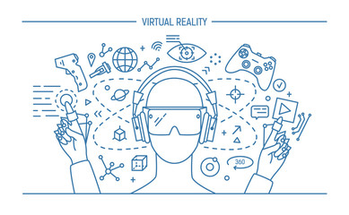 virtual reality lineart banner. contour vector illustration