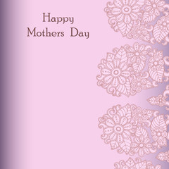 Card International Mother's Day in pink tones. Postcard vector template. Design greeting with abstract flowers.
