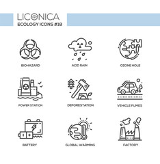 Ecology - black and white modern single line icons set