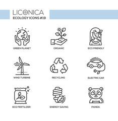 Green Ecology - monochromatic modern single line icons set