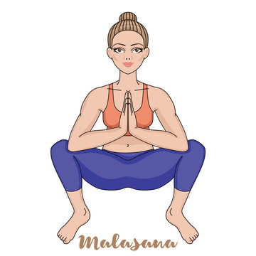Women silhouette. Squat Yoga Pose. Malasana