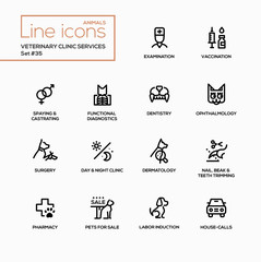 Veterinary clinic services - modern vector single line icons set